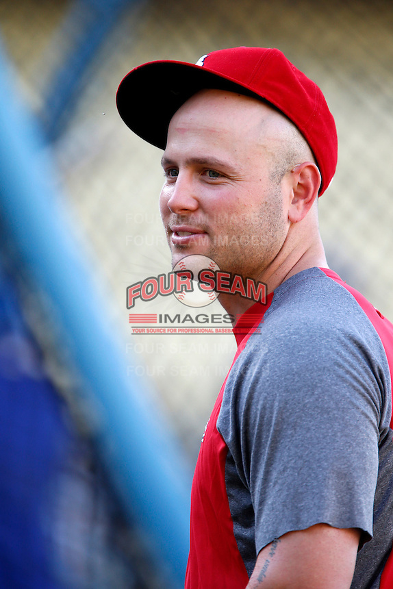Matt Holliday #7 of the St.Louis Cardinals before a game against the Los Angeles Dodgers at Dodger Stadium on September 13, 2012 in Los Angeles, California. St.Louis defeated Los Angeles 2-1. (Larry Goren/Four Seam Images)