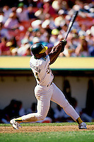 OAKLAND, CA - Rickey Henderson of the Oakland Athletics in action during a game at the Oakland Coliseum in Oakland, California in 1992. Photo by Brad Mangin