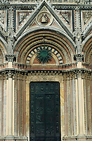 Majestic facade of the Cathedral of Siena, Italy.