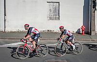 Caleb Ewan (AUS/Lotto-Soudal) escorted through town by Frederik Frison (BEL/Lotto-Soudal)<br /> <br /> Stage 10 from île d'Oléron (Le Château-d'Oléron) to Île de Ré (Saint-Martin-de-Ré)(169km)<br /> <br /> 107th Tour de France 2020 (2.UWT)<br /> (the 'postponed edition' held in september)<br /> <br /> ©kramon