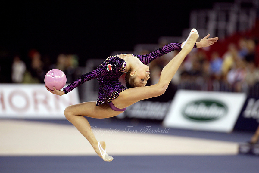 September 27, 2003; Budapest, Hungary; INNA ZHUKOVA of Belarus performs stag leaps with ball at 2003 World Championships.