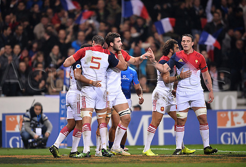 12.11.2016. Stadium Toulouse, Toulouse, France. Autumn International rugby match, France versus Samoa.  Try celebratipon from Charles Ollivon (fra)