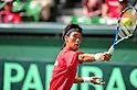 Yuichi Sugita (JPN), SEPTEMBER 16, 2011 - Tennis : Davis Cup by BNP Paribas 2011 World Group play-off match Yuichi Sugita (JPN) 3(6-3 6-4 7-5)0 Somdev Devvarman (IND) at Ariake Colosseum, Tokyo, Japan. (Photo by Jun Tsukida/AFLO SPORT) [0003]