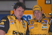 Apr 27, 2007; Talladega, AL, USA; Nascar Nextel Cup Series driver Matt Kenseth (17) talks with crew chief Robbie Reiser during practice for the Aarons 499 at Talladega Superspeedway. Mandatory Credit: Mark J. Rebilas
