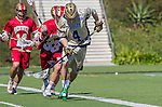 Costa Mesa, CA 03/08/14 - Stephen O'Hara (Notre Dame #4) and Zach Miller (Denver #33) in action during the Notre Dame Irish and Denver Pioneers NCAA Men's lacrosse game at LeBard Stadium in Costa Mesa, California as part of the 2014 Pacific Coast Shootout.  Denver defeated Notre Dame 10-7 in front of a crowd of over 5800 spectators.