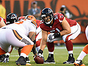 CLEVELAND, OH - AUGUST 18, 2016: Center Alex Mack #51 of the Atlanta Falcons looks across the line of scrimmage in the first quarter of a preseason game on August 18, 2016 against the Cleveland Browns at FirstEnergy Stadium in Cleveland, Ohio. Atlanta won 24-13. (Photo by: 2016 Nick Cammett/Diamond Images) *** Local Caption *** Alex Mack