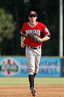 Carolina Mudcats outfielder Sean Godfrey (7) running in from the outfield during game one of a doubleheader against the Myrtle Beach Pelicans at Ticketreturn.com Field at Pelicans Ballpark on June 6, 2015 in Myrtle Beach, South Carolina. Carolina defeated Myrtle Beach 1-0. (Robert Gurganus/Four Seam Images)