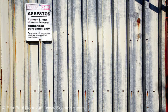 Asbestos warning on abandoned buildings at Lyndonville Air Force Station on East Mountain in East Haven, Vermont. The US Air Force built the North Concord Radar Station on top of East Mountain in 1955. Its name was changed to Lyndonville Air force Station in 1962 and then closed in 1963. In 1961, the station supposedly reported a UFO sighting, just a few hours before the reported abduction of Barney and Betty Hill on September 19-20, 1961.