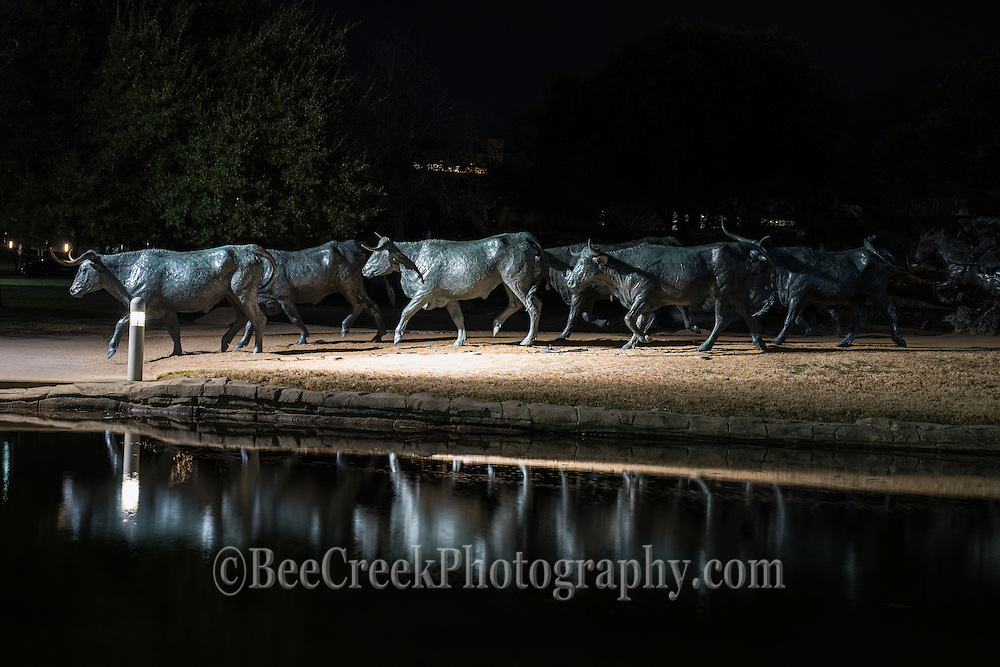We like the way these bronze statues of longhorns and trail riders  reflected back at the Pioneer Plaza Park in downtown Dallas.