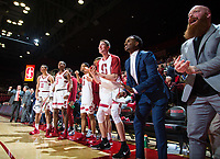 STANFORD, CA - January 26, 2019: Esayas Habtemariam, Cory Schlesinger, Keenan Fitzmorris, Rodney Herenton, Kodye Pugh, Jaiden Delaire at Maples Pavilion. The Stanford Cardinal defeated the Colorado Buffaloes 75-62.