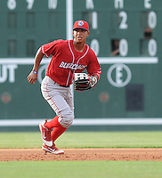 Shortstop Edgar Duran (19) of the Lakewood BlueClaws, Class A affiliate of the Philadelphia Phillies, in a game against the Greenville Drive on July 13, 2011, at Fluor Field at the West End in Greenville, South Carolina. (Tom Priddy/Four Seam Images)