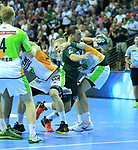 09.06.2019, Max Schmeling Halle, Berlin, GER, DHB,  1.HBL,  FUECHSE BERLIN VS. HSG Wetzlar,<br /> DHB regulations prohibit any use of photographs as image sequences and/or quasi-video<br /> im Bild Matthias Zachrisson (Fuechse Berlin #21),<br /> Flip Mirkulovski (HSG Wetzlar #13), Anton Lindskog (HSG Wetzlar #66)<br /> <br />      <br /> Foto © nordphoto / Engler