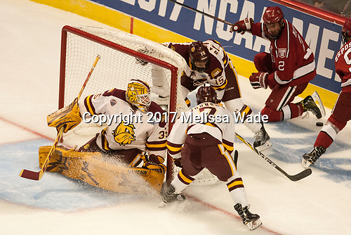 Hunter Miska (UMD - 35), Willie Raskob (UMD - 15), Adam Johnson (UMD - 7), Tyler Moy (Harvard - 2) - The University of Minnesota Duluth Bulldogs defeated the Harvard University Crimson 2-1 in their Frozen Four semi-final on April 6, 2017, at the United Center in Chicago, Illinois.
