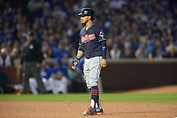 Cleveland Indians Francisco Lindor (12) leads off second base in the fourth inning during Game 3 of the Major League Baseball World Series against the Chicago Cubs on October 28, 2016 at Wrigley Field in Chicago, Illinois.  (Mike Janes/Four Seam Images)