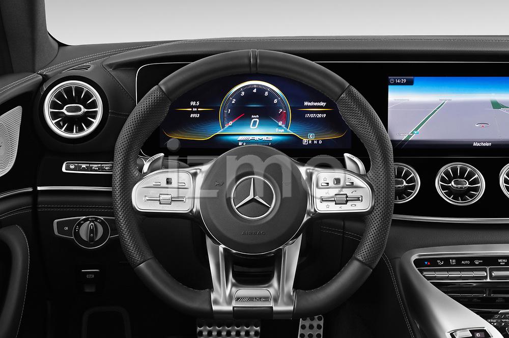 Car pictures of steering wheel view of a 2019 Mercedes Benz AMG-GT 63-S 5 Door Hatchback