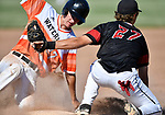 Waterloo's Sam Kreinberg is out at third base after Triad's Josh Mesenbrink put the tag on him in the second inning. Triad defeated Waterloo 4-2 in a Class 3A Baseball Regional semifinal baseball game on Thursday May 24, 2018. Tim Vizer | Special to STLhighschoolsports.com