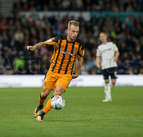 8th September 2017, Pride Park Stadium, Derby, England; EFL Championship football, Derby County versus Hull City; Kamil Grosicki of Hull City on the ball
