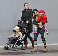 Sarah Jessica Parker with kids Marion Broderick and Tabitha Broderick - New York City