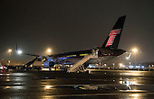 President-Elect Donald Trump's plane is seen at Ronald Reagan Washington National Airport as he arrive to attend the Chairman's Global Dinner, at the Andrew W. Mellon Auditorium in Washington, D.C. on January 17, 2017. The invitation only black-tie event has over 500 guest including some 200 foreign diplomats in attendance. <br /> Credit: Kevin Dietsch / Pool via CNP