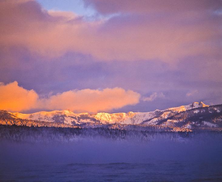 Lake Tahoe Scenic Sunrise over misty Waters