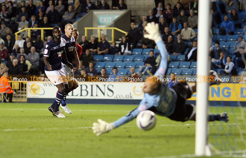 Craig Noone scores the 2nd goal for Cardiff - Millwall vs Cardiff City, nPower Championship at the New Den, Millwall, London - 18/09/12 - MANDATORY CREDIT: Rob Newell/TGSPHOTO - Self billing applies where appropriate - 0845 094 6026 - contact@tgsphoto.co.uk - NO UNPAID USE.