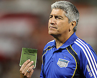 It didn't work. Assistant coach Octavio Zambrano of the Kansas City Wizards  with a tactical notebook after losing during an MLS match against D.C. United at RFK Stadium on May 5 2010, in Washington DC. United won 2-1