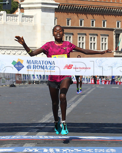 10.04.2016. Rome, Italy. 22nd annual Marathon of Rome City and Run for Fun. Rahma Tusa winner of the womens race at the Rome Marathon.