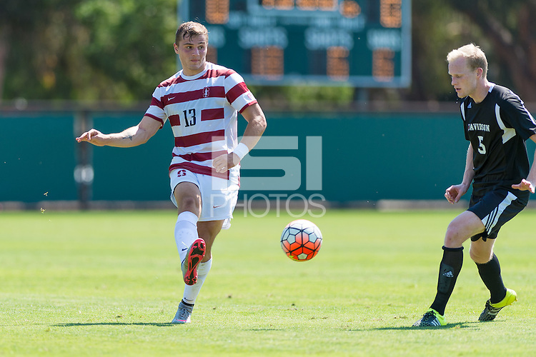 Stanford, CA - September 20, 2015: Jordan Morris during the Stanford vs Davidson men's soccer match in Stanford, California.  The Cardinal defeated the Wildcats 1-0 in overtime.