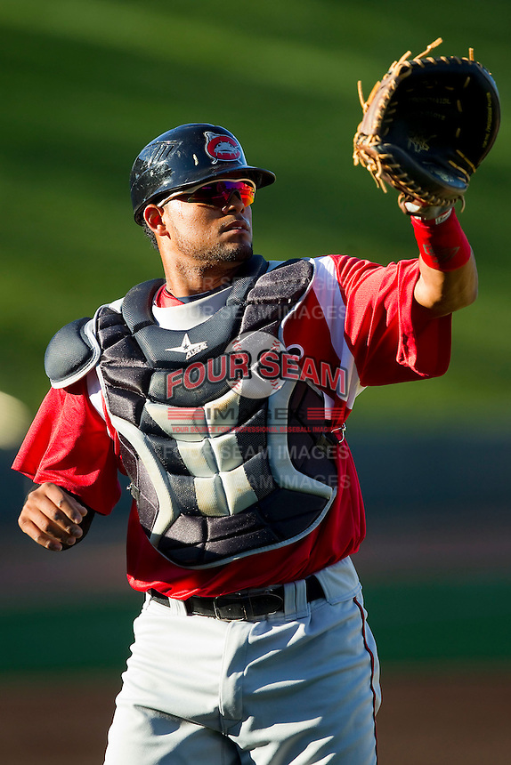 Carolina Mudcats catcher Charlie Valerio (41) during fielding practice prior to the game against the Winston-Salem Dash at BB&T Ballpark on April 13, 2013 in Winston-Salem, North Carolina.  The Dash defeated the Mudcats 4-1.  (Brian Westerholt/Four Seam Images)