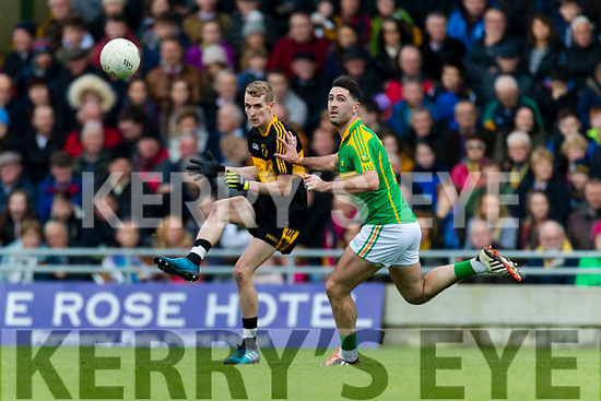 Gavin O'Shea Dr Crokes in action against Bryan Sheehan South Kerry in the Senior County Football Final in Austin Stack Park on Sunday