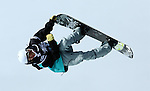 2011 FIS Snowboard World Cup  Championships , halfpipe qualification men's, La Molina. Picture show Patrick Burgener SUI FIS SNOWBOARD WORLD CHAMPIONS LA MOLINA