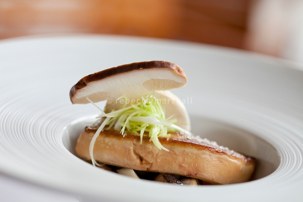 Duck foie gras, served with fresh grey shrimp bouillon, raw and cooked Porcini mushrooms, created by head chef Stephanie le Quellec at Le Faventia restaurant, Four Seasons Terre Blanche, Tourettes, France 2 December 2011