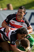 Sherwin Stowers celebrates Tasesa Lavea's try. Air New Zealand Cup rugby game between the Counties Manukau Steelers & Manawatu Turbos, played at Growers Stadium Pukekohe on Staurday September 20th 2008..Counties Manukau won 27 - 14 after trailing 14 - 7 at halftime.