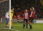 Jack O'Connell of Sheffield Utd reacts to a missed header during the English League One match at the Bramall Lane Stadium, Sheffield. Picture date: November 22nd, 2016. Pic Simon Bellis/Sportimage