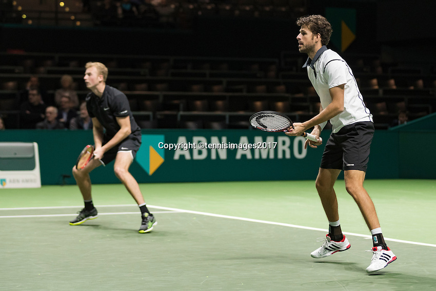 ABN AMRO World Tennis Tournament, Rotterdam, The Netherlands, 14 februari, 2017, Glenn Smit (NED), Robin Haase (NED)<br /> Photo: Henk Koster