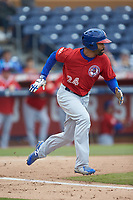 Dalton Pompey (24) of the Buffalo Bison hustles down the first base line against the Durham Bulls at Durham Bulls Athletic Park on April 25, 2018 in Allentown, Pennsylvania.  The Bison defeated the Bulls 5-2.  (Brian Westerholt/Four Seam Images)