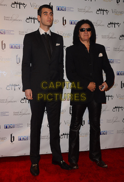 02 March 2014 - Beverly Hills, California - Nick Simmons, Gene Simmons.  Fame and Philanthropy Post-Oscar Gala celebrating the 86th Annual Academy Awards held at The Vineyard Beverly Hills. <br /> CAP/ADM/BT<br /> &copy;Birdie Thompson/AdMedia/Capital Pictures