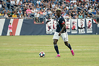 FOXBOROUGH, MA - JULY 27:  Wilfried Zahibo #23 advances in the midfield at Gillette Stadium on July 27, 2019 in Foxborough, Massachusetts.