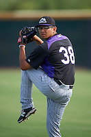 Colorado Rockies pitcher Javier Medina (38) during practice before an instructional league game against the SK Wyverns on October 10, 2015 at the Salt River Fields at Talking Stick in Scottsdale, Arizona.  (Mike Janes/Four Seam Images)