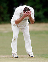 Tony Duckett despair during the Middlesex County Cricket League Division Three game between Hornsey and Highgate at Tivoli Road, Crouch End on Sat Aug 7, 2010.