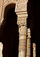 Detail of columns and capitals, Courtyard of the Lions, 1362 ? 1391, Muhammad V, Nasrid Palaces, The Alhambra, Granada, Andalusia, Spain. Picture by Manuel Cohen