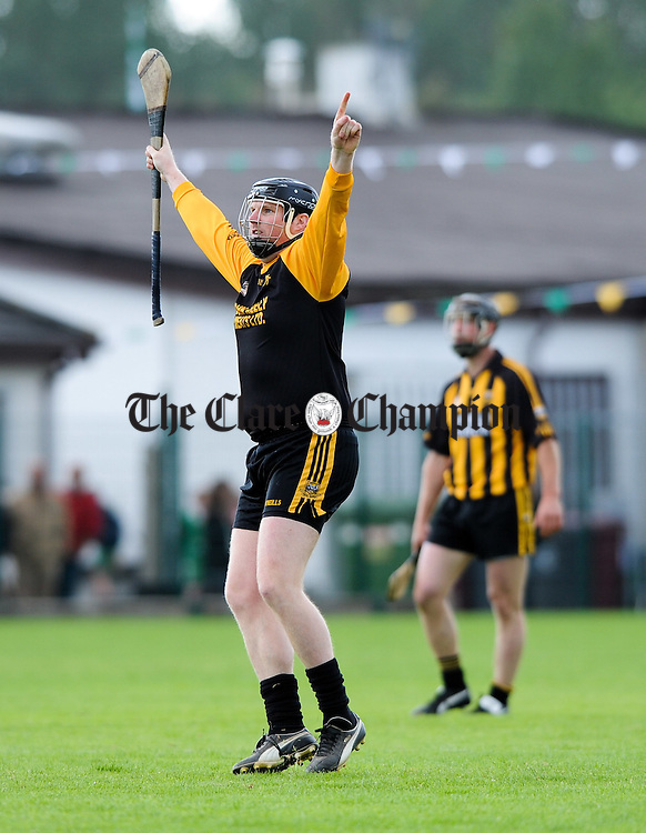 Shane O Neill of Ballyea celebrates his free pointed against Clonlara during their senior championship game at Shannon. However it was not enough as Clonlara came back to win the game. Photograph by John Kelly.