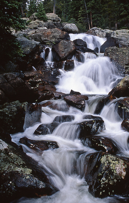 Cascade Falls,  summer, Rocky Mountain National Park, Colorado, USA