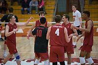 STANFORD, CA - December 30, 2017: Leo Henken, Evan Enriques, Kevin Rakestraw, Eric Beatty, Eric Beatty, Jaylen Jasper at Burnham Pavilion. The Stanford Cardinal defeated the Calgary Dinos 3-1.