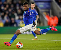 9th March 2020; King Power Stadium, Leicester, Midlands, England; English Premier League Football, Leicester City versus Aston Villa; Nampalys Mendy of Leicester City takes a shot at goal early in the second half