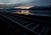 Alaska Railroad tracks along the Turnagain Arm.