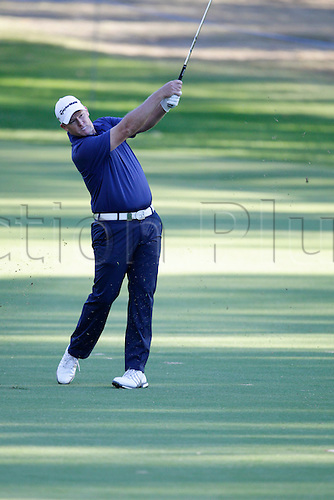 26.02.2016. Perth, Australia. ISPS HANDA Perth International Golf. Marcus Fraser (AUS) plays an approach shot on the 10th hole during day 2.