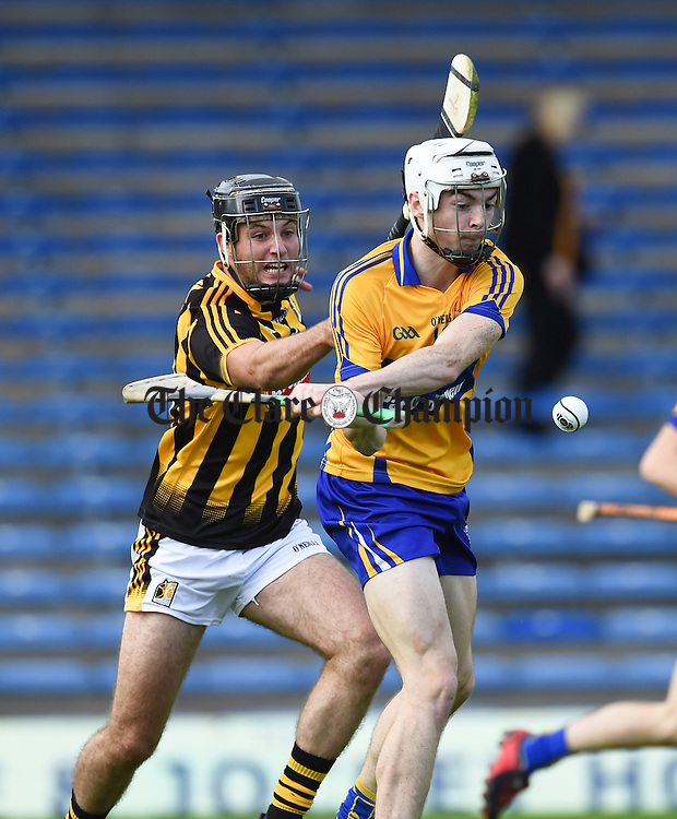 Ryan Taylor of Clare scores the goal despite Jason Cleere of Kilkenny during their Intermediate All-Ireland final at Thurles. Photograph by John Kelly.