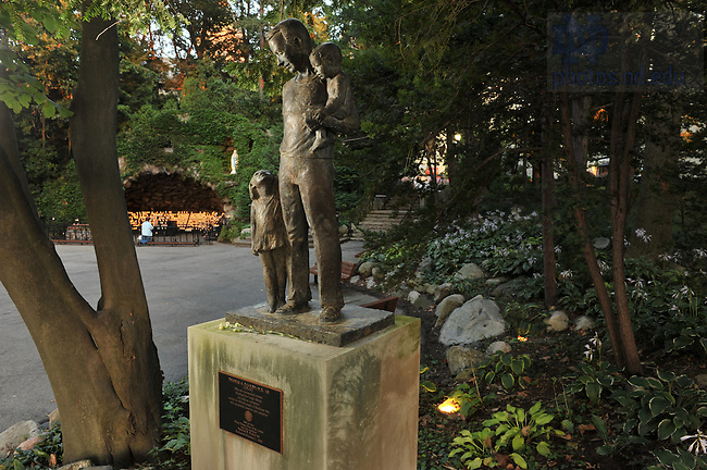 Tom Dooley statue near the Grotto..Photo by Matt Cashore/University of Notre Dame