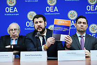 Washington, DC - March 8, 2019: OAS Working Group Coordinator David Smolansky show the new report from the OAS Working Group on Venezuelan Migrants and Refugees during a press conference at Inter American Commission of Human Right. March 8, 2019.  (Photo by Lenin Nolly/Media Images International)